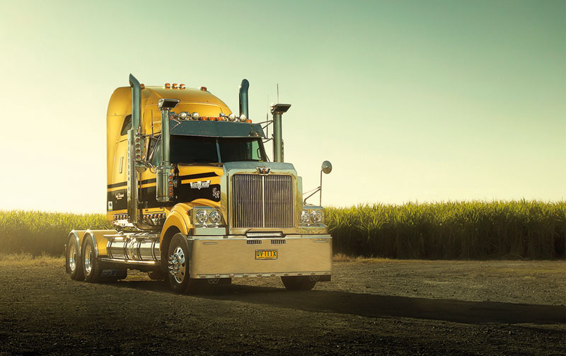 Photo of Richards Transport's golden Western Star 4900FXT, powered by a Detroit DD15 rated at 560hp, which was the winner of the Serious Truck Award for February 2015.